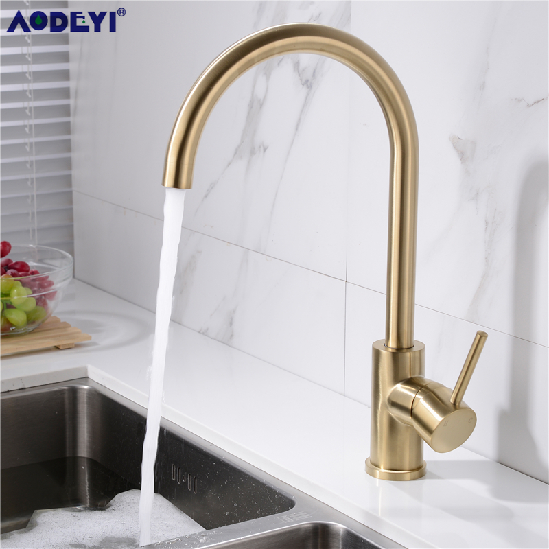 Kitchen faucet Hot and Cold Kitchen Sink Mixer Tap with Aerator, Solid 304 Stainless Steel Sink Faucet,Brushed Nickel