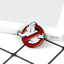 Ghostbusters Spille Film Spille No Ghosts Logo Smalto Spilli Distintivo Dell'annata Punk Dei Monili Movie Regalo per i fan gli amici Unisex(China)