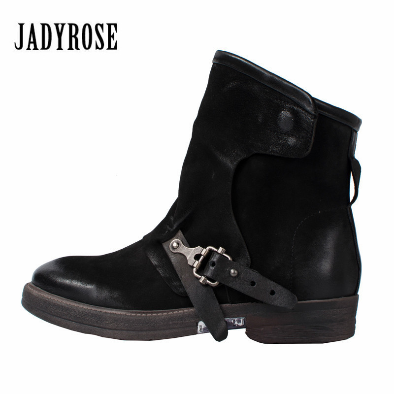 Jady Rose Handmade Genuine Leather Ankle Boots for Women Black Autumn Winter Snow Boots Female Platform Rubber Flat Shoes Woman women ankle boots handmade genuine leather woman boots autumn winter round toe soft comfotable retro boot shoes female footwear