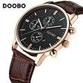 Мужские Часы Лучший Бренд Класса Люкс Кожаный Ремешок Золотые Часы Мужчины Кварцевые Часы часы мужчины DOOBO Мода Военная Повседневная Спорт наручные часы