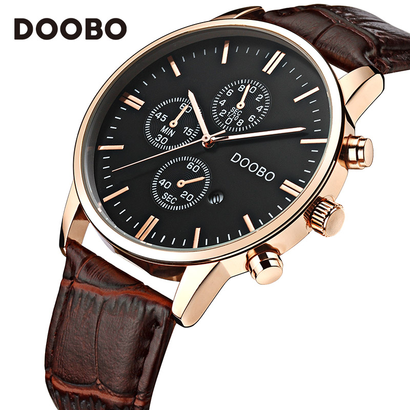 все цены на Mens Watches Top Brand Luxury Leather Strap Gold Watch Men Quartz-Watch clock men DOOBO Fashion Military Casual Sport Wristwatch