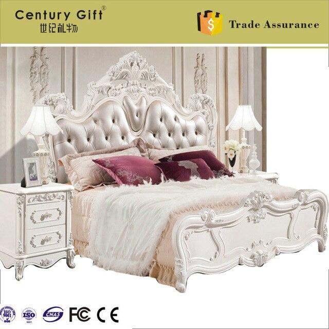 De madera maciza de estilo europeo del arte de la piel la cama ...
