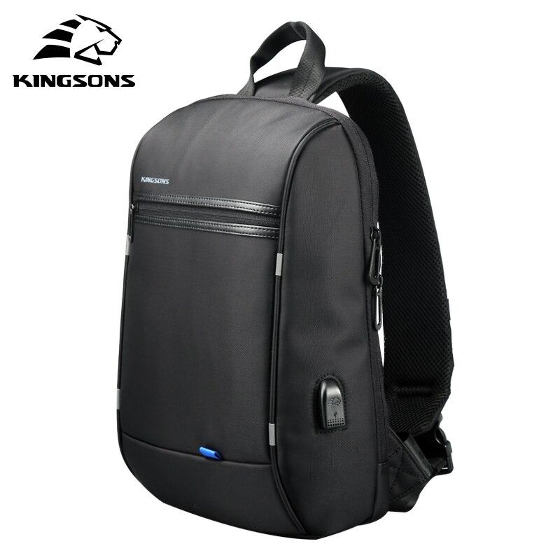 Kingsons Chest Bag for Men Black Single Shoulder Bags for Men Waterproof Nylon Crossbody Bags Male