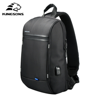 Kingsons Chest Bag for Men Black Single Shoulder Bags for Men Waterproof Nylon Crossbody Bags Male Men Messenger Bags
