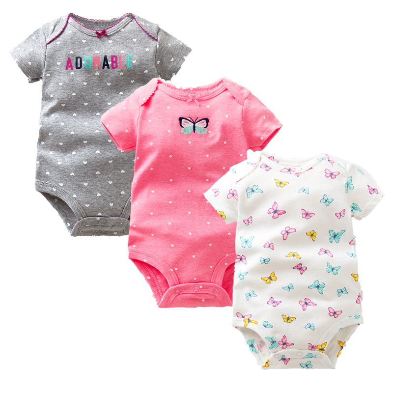 Times Favourite 3PCS/LOT Baby Boys Girls Summer Clothes 2018 New Fashion 100% Cotton Baby Bodysuit Short Sleeve Newborn Baby