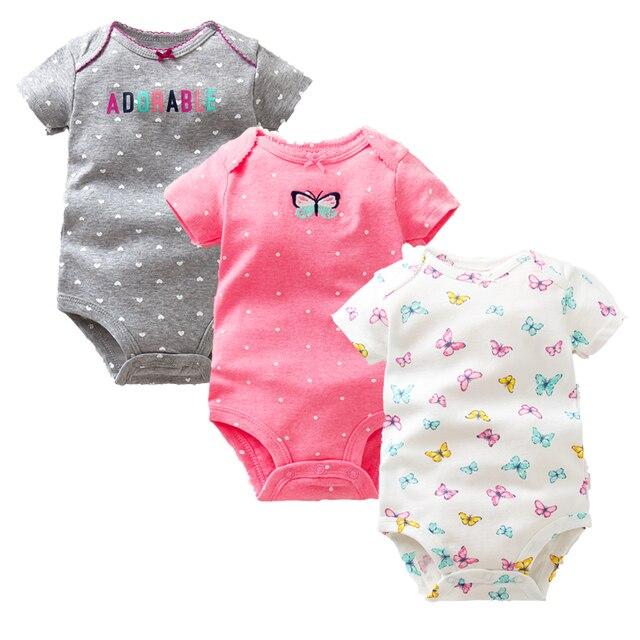 Vezes pçs/lote 3 Favorito Do Bebê Das Meninas Dos Meninos Roupas de Verão 2018 de Moda de Nova 100% Do Bebê Do Algodão Bodysuit Bebê Recém-nascido de Manga Curta