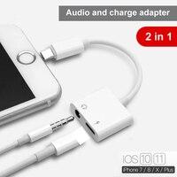 2 в 1 освещение сплиттер для iPhone X 7 8 плюс аудио зарядки OTG адаптер 3,5 мм разъем для наушников AUX зарядное устройство разъем конвертер