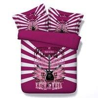 Roxo 3d cama queen size colcha colchas conjunto de consolador gêmeo completa king size 500TC musical guitar Rock & Roll Adultos meninas