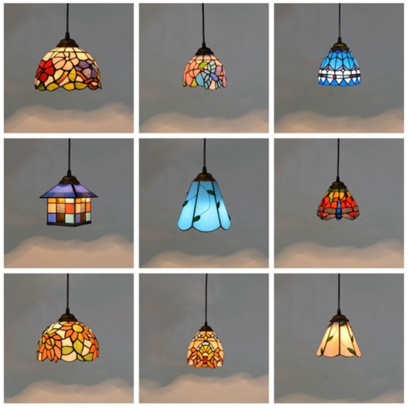 Retro Pendant Lights Stained Glass Lighting Mediterranean Hanging Lamp Vintage Lamp For Living Room Kitchen Home Decor Fixtures