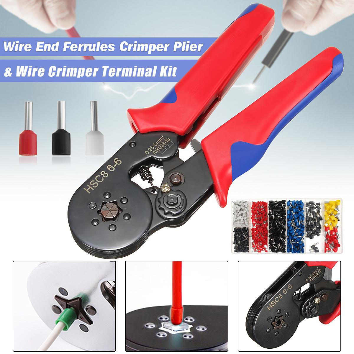New Mini-Type Self-Adjustable Six Mandrel Ratchet Crimper Plier+1200Pcs Electrical Cable Wire End Terminal Connectors Crimping dwz new 6 50mm lx 50b wire terminal crimper tool cable lug crimping plier connector