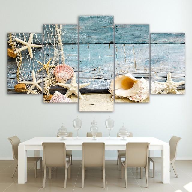 Hd gedrukt schelpen zeesterren strand schilderij op canvas kamer decoratie print poster foto - Schilderij in de kamer ...