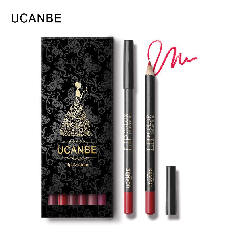UCANBE 12pcs/Set Multi-Color Ultra Matte Lip Liner Pencil Rouge Waterproof Wooden Lip Pen Makeup Lasting Velvet Shape Lips Liner 15