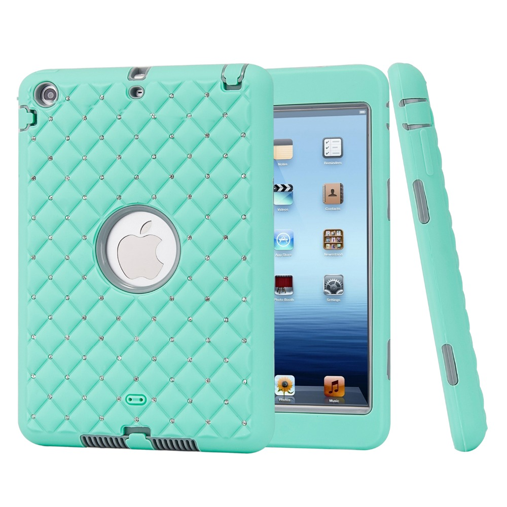 все цены на For iPad mini 1/2/3 Retina Case Bling Rhinestone Kids Safe Shockproof Heavy Duty Silicone Hard Case Cover w/Screen Protector+Pen онлайн