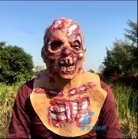 Livraison gratuite Halloween fête Cosplay horreur effrayant squelette tête masque Zombie Terrible fantôme sanglant pleine tête film masque