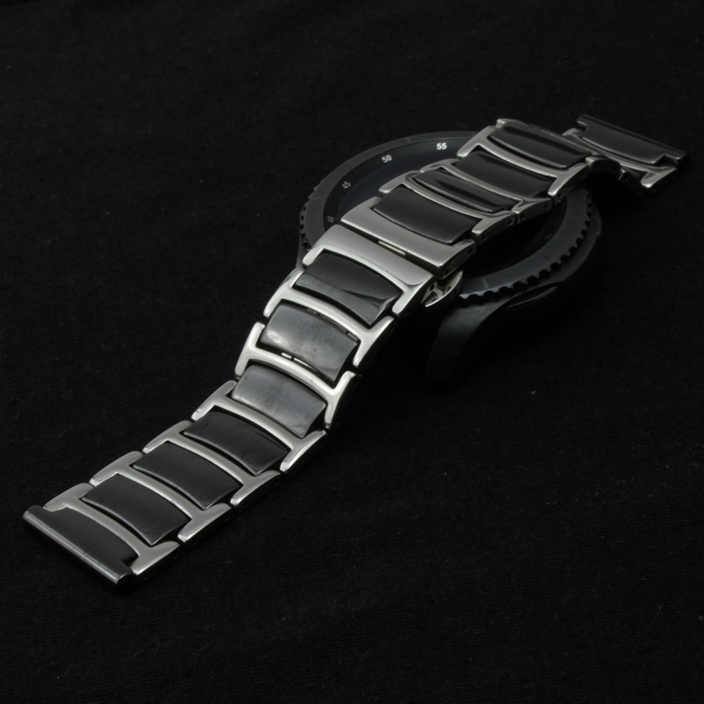For Samsung Gear S2/S3 smart wristband watchband 20mm 22mm black ceramic and stainless steel durable watch band straps bracelet for samsung gear s2 s3 smart wristband qiality pearl ceramics watchband 20mm 22mm black white bracelet