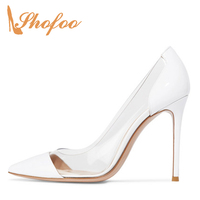 Large Size 11 15 White Nude PVC Cap Pointed Toe High Thin Heels Pumps Woman Stilettos For Ladies Clear Dress Shoes Mature Party