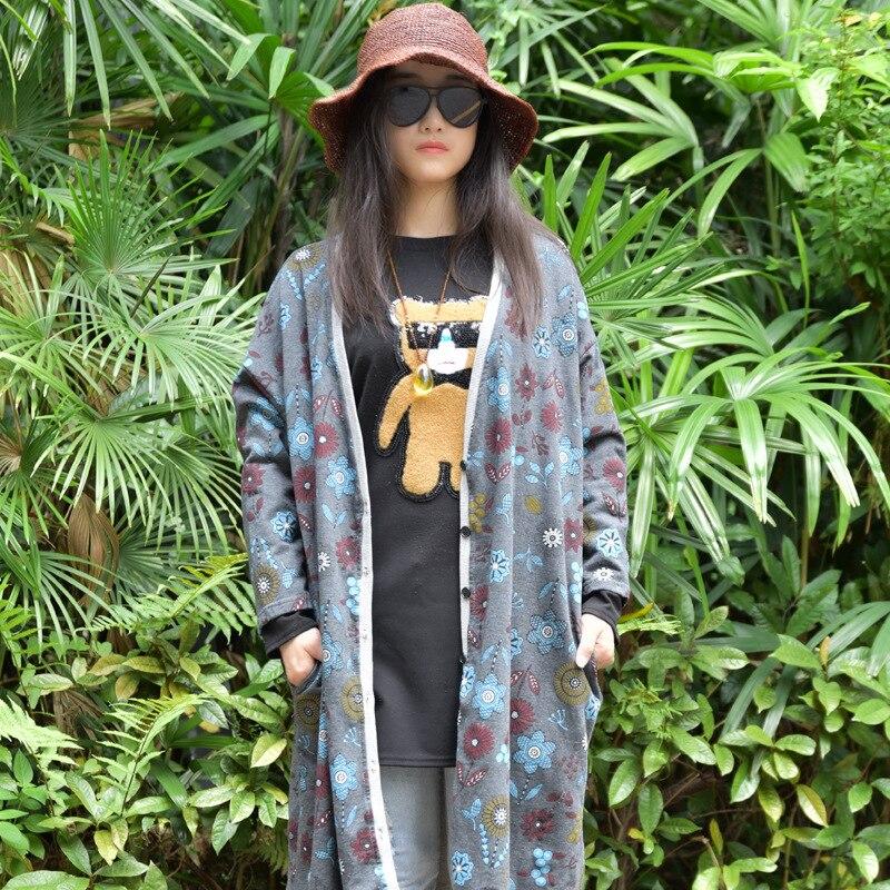 D451 Long Cardigan Vêtements Gris yellow Style Lâche Code Grand Originale Manteau Coffe Coton Chinois 2018 Lin Et De Impression Conception Femmes Automne SUHvYqFp