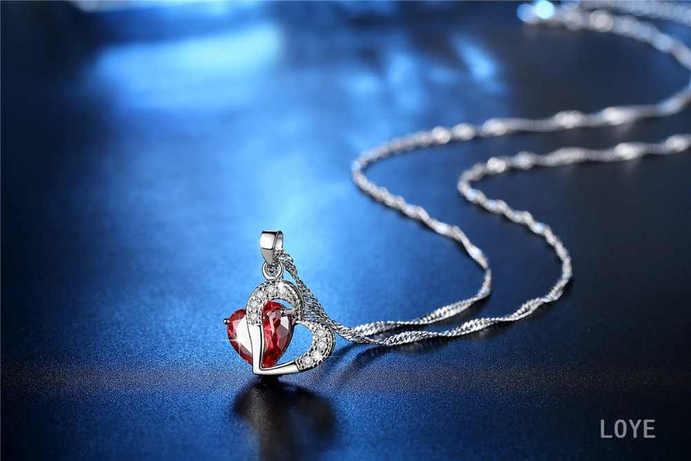 אדום/סגול/לבן קריסטל תכשיטים אפריקאים סטי 925 כסף לב ריינסטון כלה שרשרת עגילים לנשים מתנה לחג המולד
