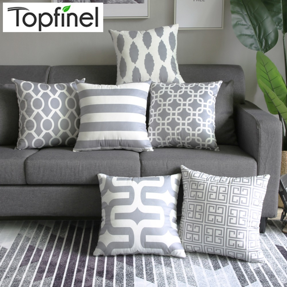 where to buy cheap chair covers comfy rocking aliexpress.com : topfinel geometric cushion cover grey pillow for puff sofa ...
