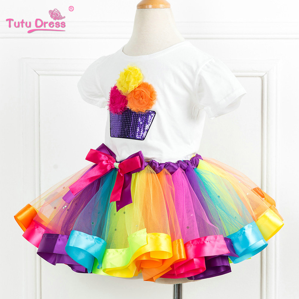 d78e485b5 Birthday Outfit Rainbow Ribbon Tutu Set First Birthday Dress New Summer  Colorful Tutu Clothing Sets -in Clothing Sets from Mother & Kids on  Aliexpress.com ...