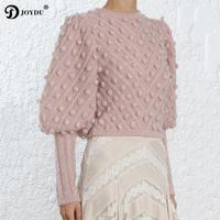 JOYDU Luxury Runway Design Crop Top High Waist Knitted Sweater Women 2019 pull femme Sweet Hairball Lantern Sleeve Pink Pullover