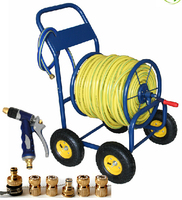 Hose trolly with 50m TPR garden hose 1/2'' with water nozzle multifunction watering gun
