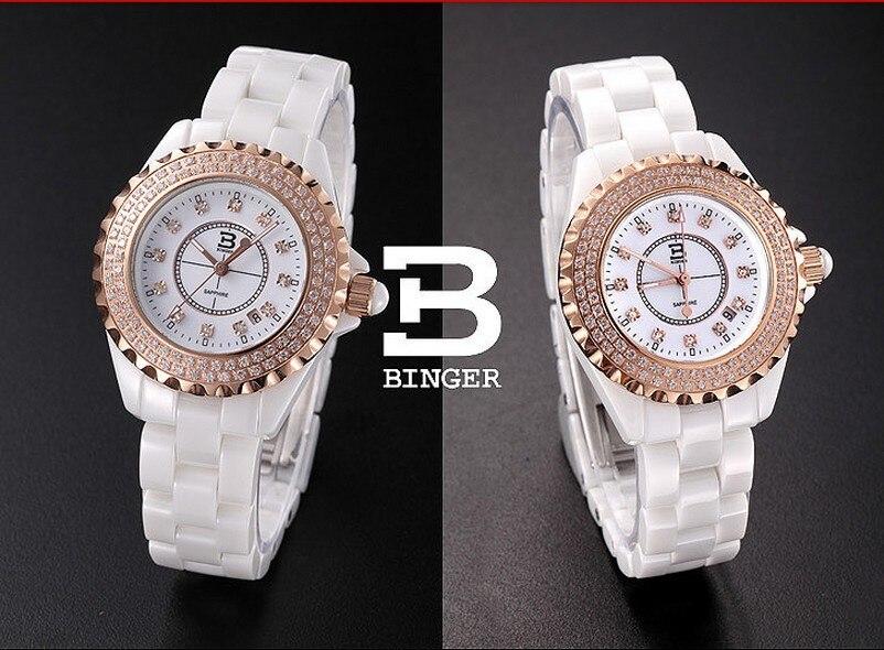 New 2017 Binger ceramic wristwatches Women fashion quartz watch Round rhinestone watches BG-0371