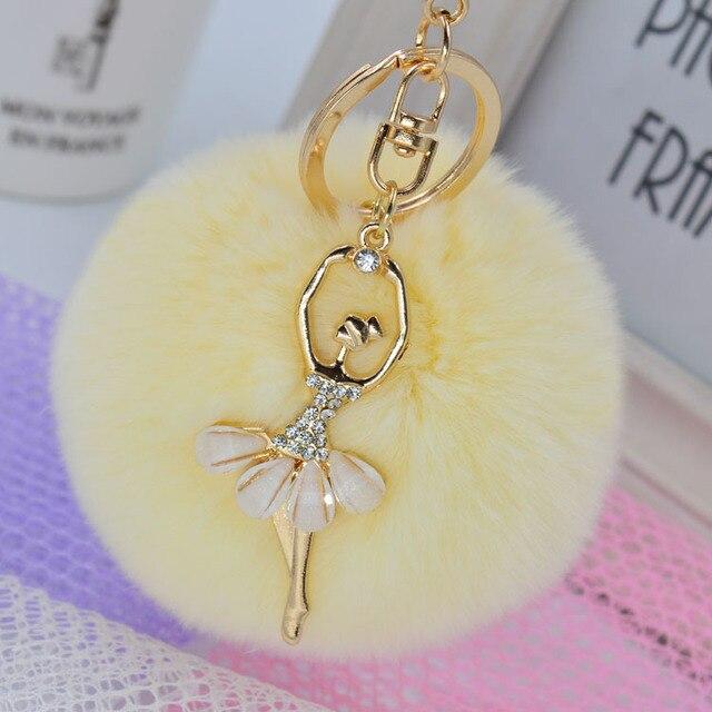 2016 кристалл балерина брелки горный хрусталь девушка брелок мода женщины мех мяч pom pom брелок ювелирных изделий