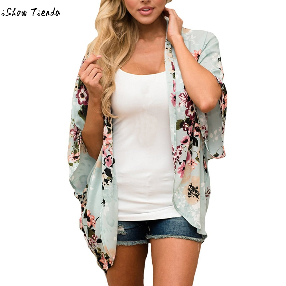 39c59db51c95b2 Boho Batwing Sleeve Coat Jacket Chiffon Blouse Women Casual Floral Print Loose  Kimono Shirts Big Size Beach Tunic Tops Peplum