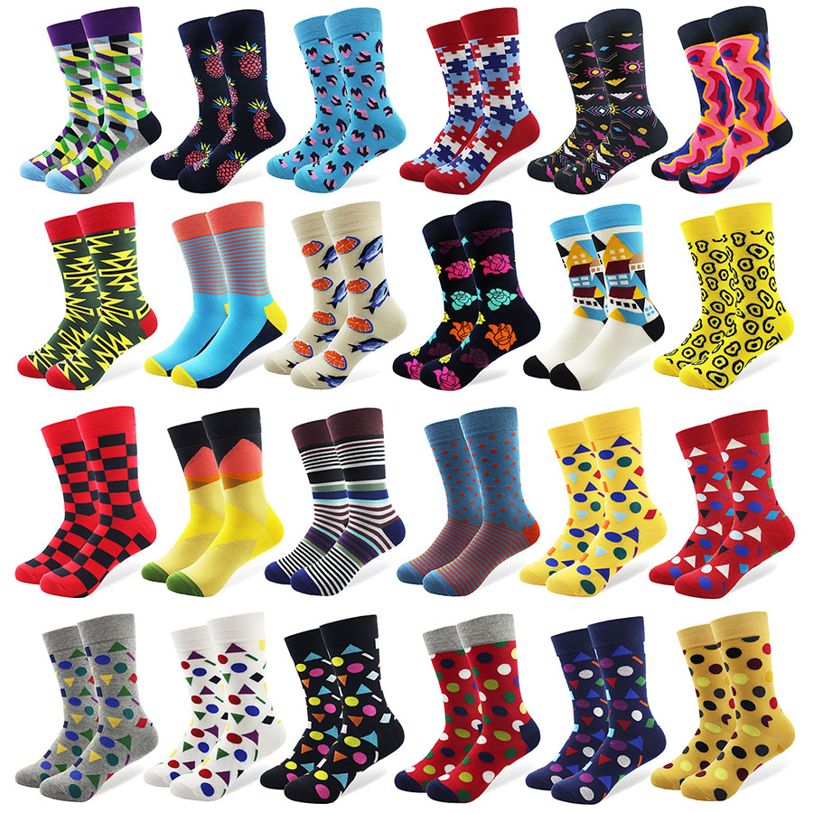 Men's Colorful Mini Diamond Combed Cotton Socks High Quality Crew Wedding