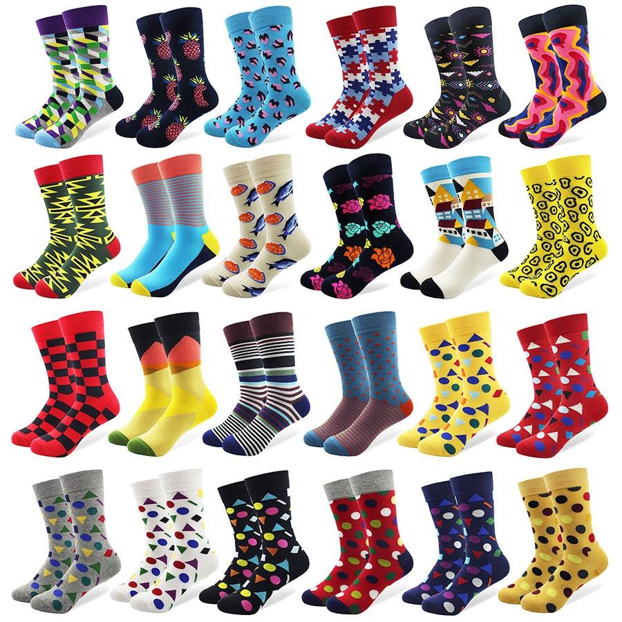 Heren kleurrijke Mini Diamond gekamd katoenen sokken Hoge kwaliteit - Herenkleding