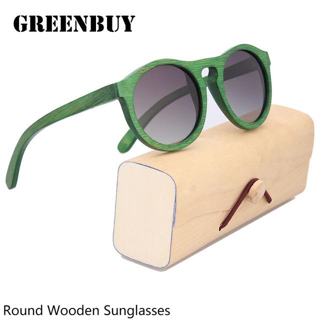 Retro gafas de Sol Redondas 2016 Gradiente de Las Mujeres De Bambú Vidrio Forzar Damas Marca de gafas de Sol Las Mujeres 2017 Gafas Redondas gafas de Sol de la Playa