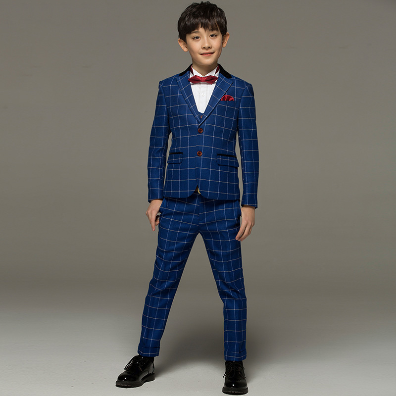 2c1c97880a6e3 Brand boy clothes Blue Plaid England fashion child kid baby boy formal  wedding suits kids tuxedo boy prom suits boy dress 2T 16T-in Suits from  Mother   Kids ...