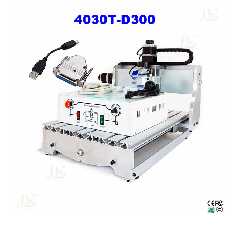Russia no tax 4030T-D300 3axis mini cnc router for wood stone carving with New USB to Parallel Adapter no tax to russia cnc carving machine 4030 z d300 cnc lathe mini cnc router for woodworking