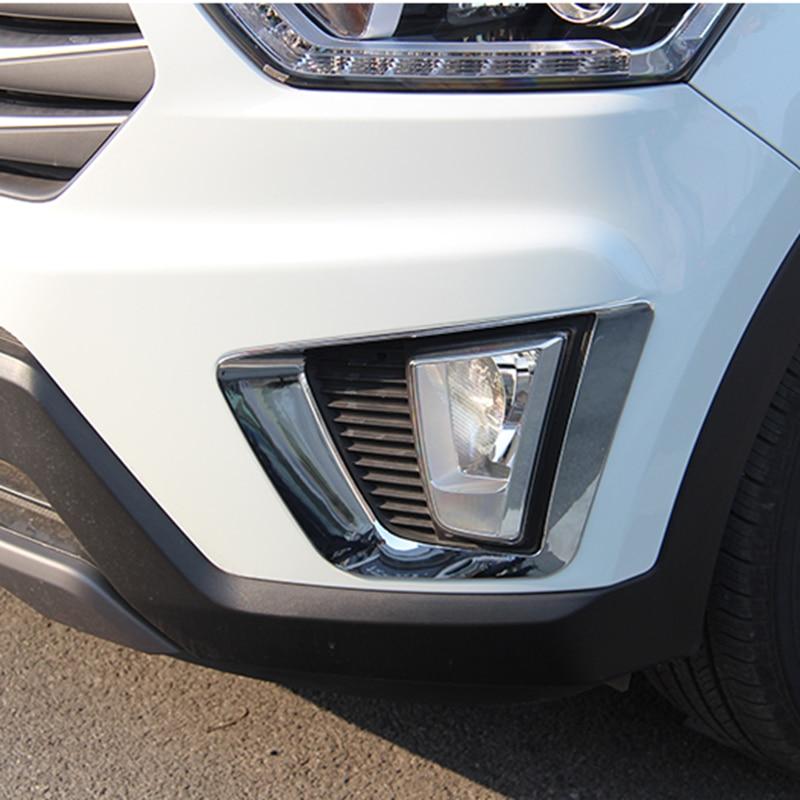 For Hyundai Kona 2018 2019 Chrome Front Fog Light Foglight: For Hyundai Creta IX25 2015 2016 2017 ABS Chrome Exterior