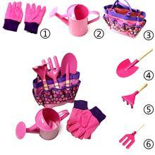 6 шт., Детские садовые инструменты, лейка, садовая лопата, грабли, лопата, игрушки для моделирования, ролевые игрушки, детская интерактивная игрушка
