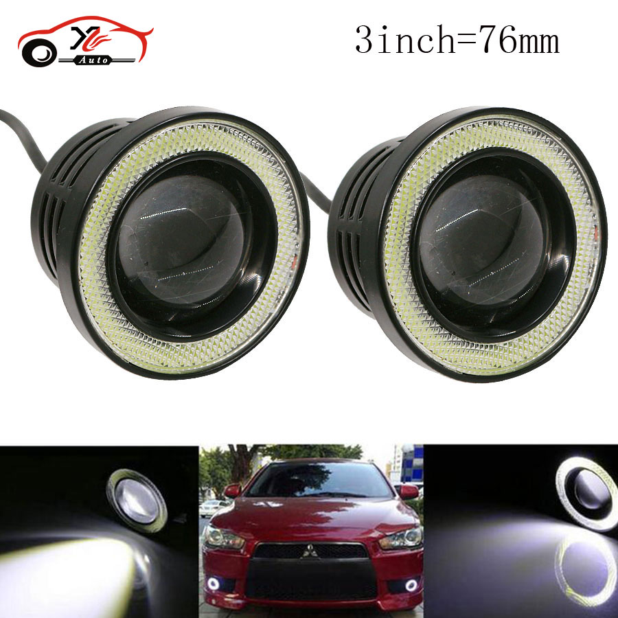 car-styling 3 Waterproof Projector LED With Lens Halo Angel Eyes Rings COB 30W Xenon White Fog Light For SUV ATV Off Road 12V mayitr 2pcs 3 5 car cob led angel eyes fog light lens projector led halo ring white fog drl driving lamp 12v suv atv off road