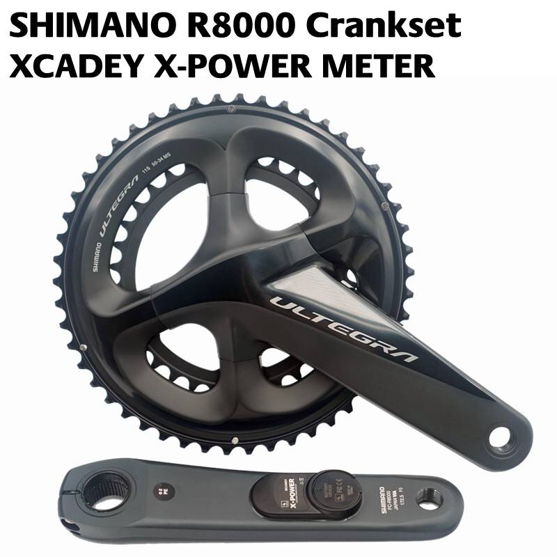 цена SHIMANO ULTEGRA R8000 Road bike bicycle POWER Crankset XCADEY X-POWER METER Crank 170mm 172.5mm Crankset 52-36T 50-34T