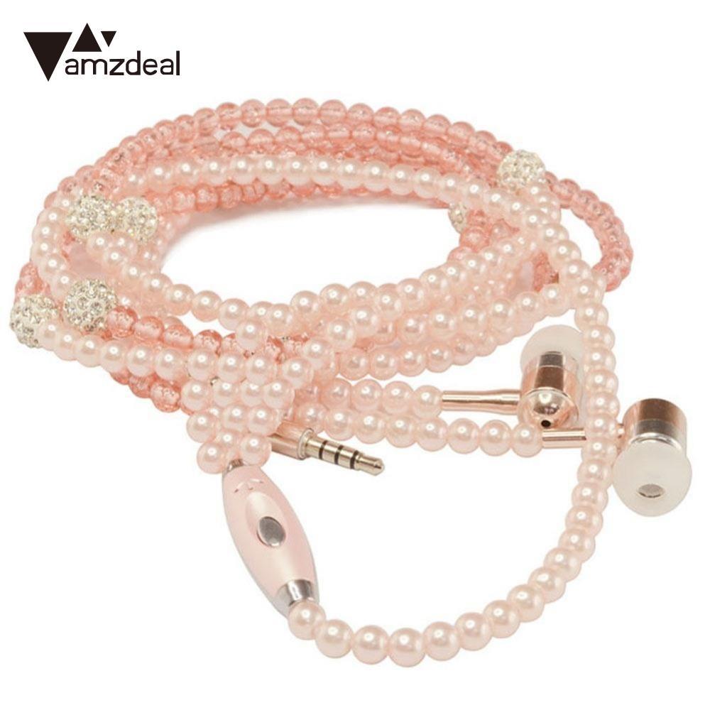 Amzdeal joyería atada con alambre collar de perlas auriculares manos libres auriculares auriculares rosa para IOS / Android accesorios del teléfono celular
