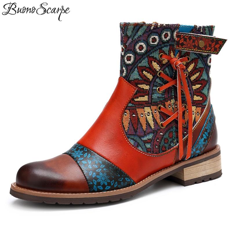 Buono 스카프 여성 발목 부츠 정품 가죽 tassels 짧은 부츠 라운드 발가락 스트랩 레트로 민족 신발 바느질 꽃 세련된 부티-에서앵클 부츠부터 신발 의  그룹 1