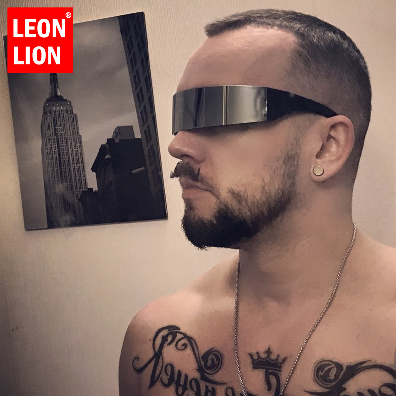 LEONLION Funny Futuristic Wrap Around Monob Costume <font><b>Sunglasses</b></font> Mask Novelty Glasses Halloween Party Party Supplies Decoration image