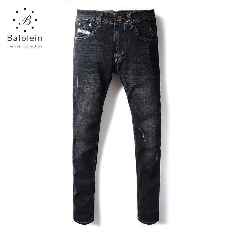 Newly Fashion Mens Jeans Slim Fit Elastic Denim Classic Casual Pants Blaplein Brand Men Jeans Simple Stretch Black Jeans Men