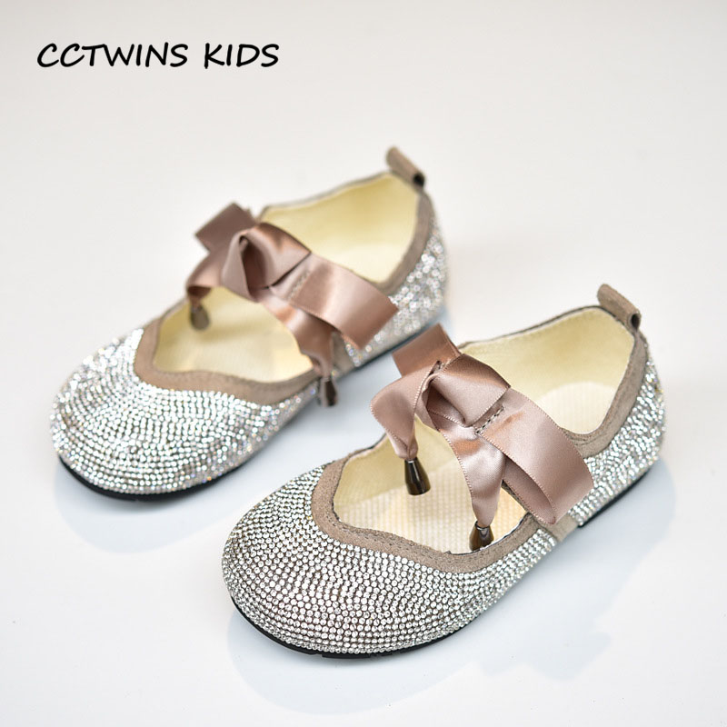 CCTWINS KIDS 2018 Autumn Children Fashion Rhinestone Party Shoe Baby Girl Butterfly Princess Flat Toddler Black Mary Jane GM2028