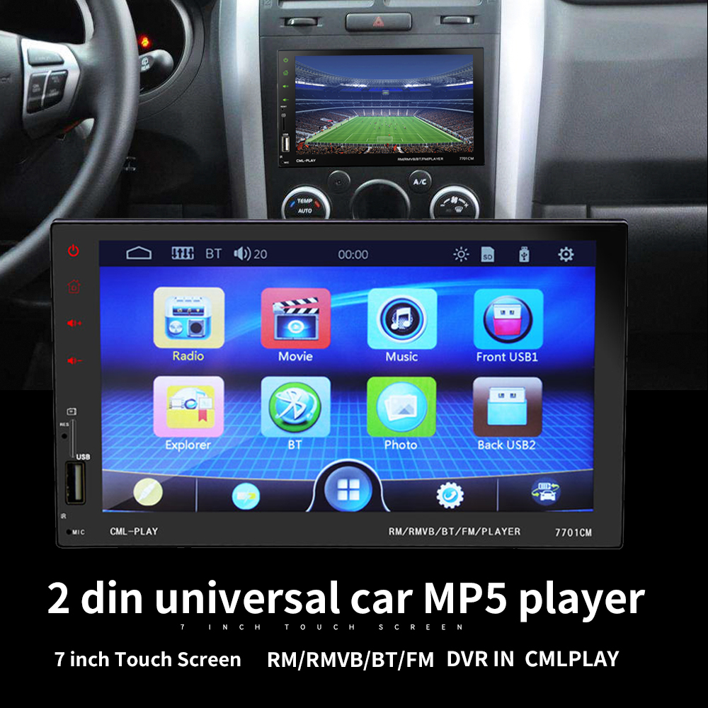 2 din HD 7 Touch Screen Auto car radio Support Bluetooth FM mirror link USB  charger AUX IN TF rear view camera MP4 MP5