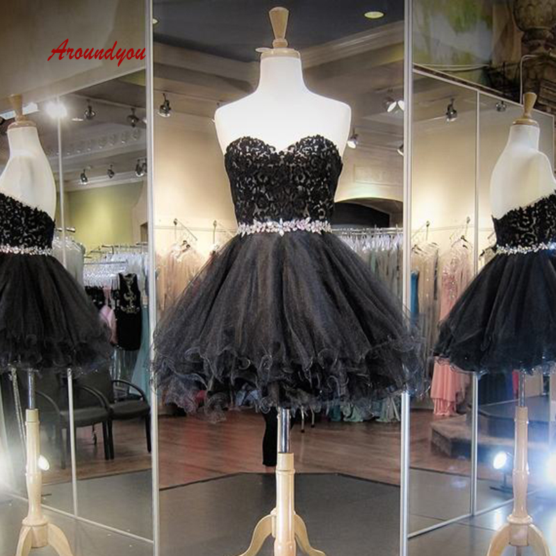 Sexy Black Short Lace Cocktail Dresses Plus Size Formal Graduation Prom Party Homecoming Dresses