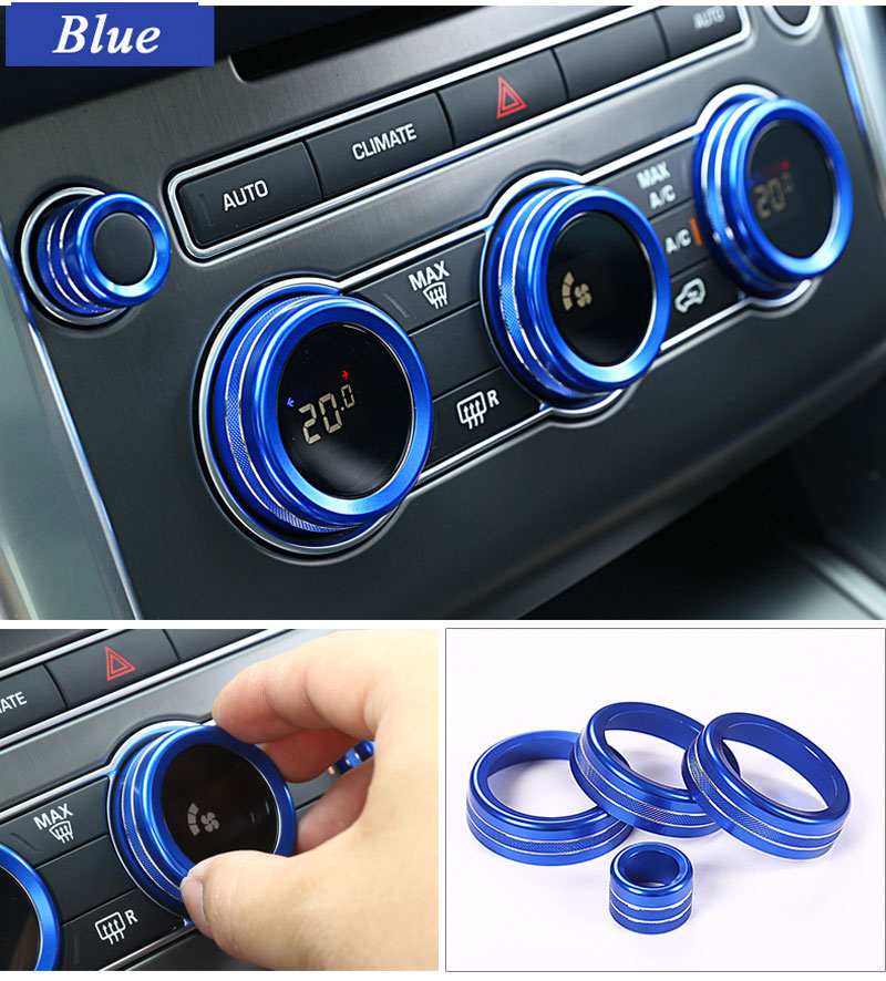 Aluminum Car Front Rear Air Conditioning Knob Audio Circle Trim 7pcs For <font><b>Land</b></font> <font><b>Rover</b></font> Range <font><b>Rover</b></font> Vogue <font><b>L405</b></font> 2014-2017 Car-Styling image