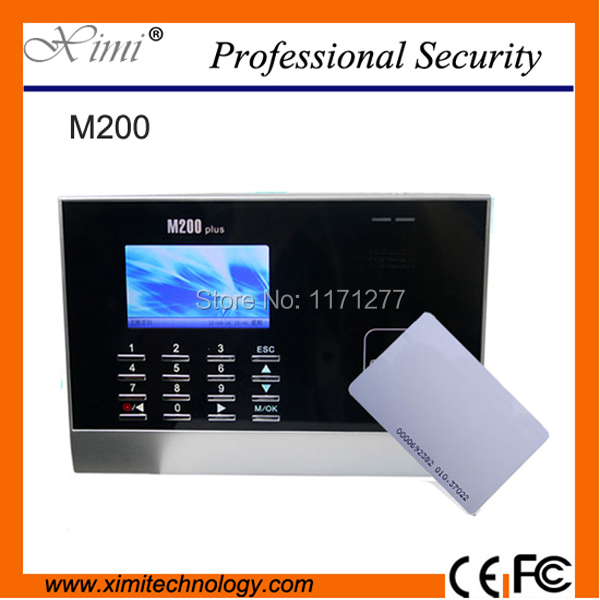 цена на Hot selling LCD color screen M200 card time attendance linux system rs232&485 30000 register capacity RFID office time recording