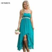 ec11da7c8d4c7 Empire Sweetheart Strapless Bridesmaid Dress Turquoise Color Chiffon  Wedding Party Gowns Short Front Long Back Dress