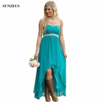 Empire Sweetheart Strapless Bridesmaid Dress Turquoise Color Chiffon Wedding Party Gowns Short Front Long Back Dress BDS005