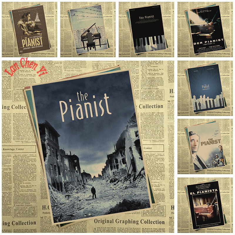 The Pianist Nostalgic Matte Kraft Paper Poster Office Gift Room Dining Home Decor wall sticker Design